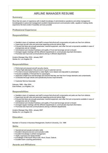 Resume For Airline by Sle Airline Manager Resume