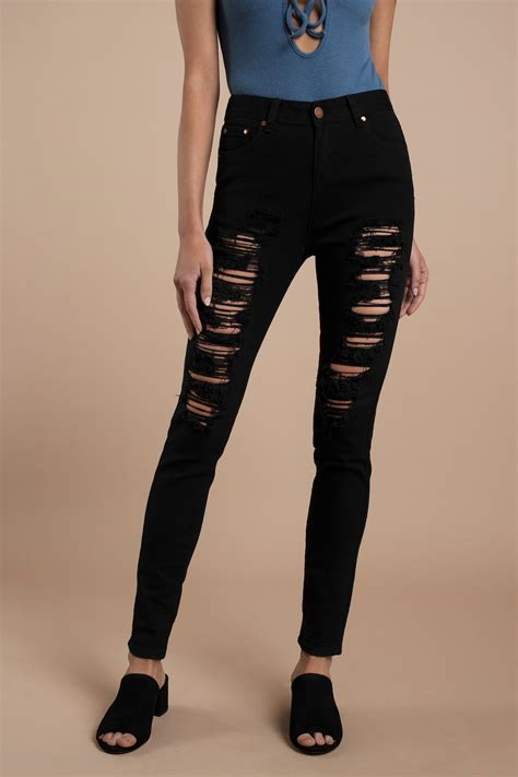 Trendy Black Jeans Distressed Denim