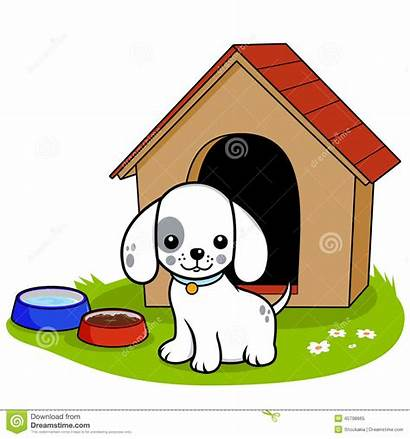 Dog Outside Doghouse Standing Clipart Clip Vector