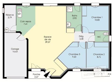 les 3 chambres maison plain pied dé du plan de maison plain pied