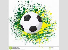 Football World Cup On Paint Splash Color Background Stock