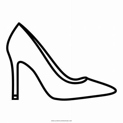Heel Outline Salto Alto Coloring Shoe Sapato