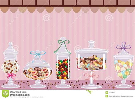 Candy Jars With Chocolates Candies And Dragees Vector