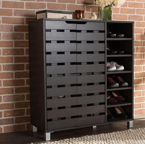 wood  pair shoe cabinet storage rack organizer entryway