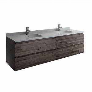 Fresca, Formosa, 72, In, Modern, Double, Wall, Hung, Vanity, In, Warm, Gray, With, Quartz, Stone, Vanity, Top