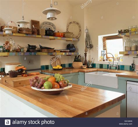 small country kitchens cherry wood worktop in small country kitchen with belfast 2337