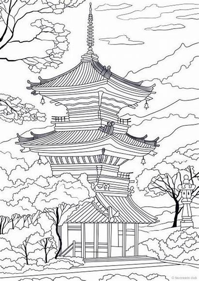Coloring Japanese Temple Adult Tattoo Printable Adults