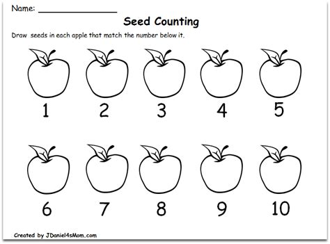 counting worksheets     apple theme writing