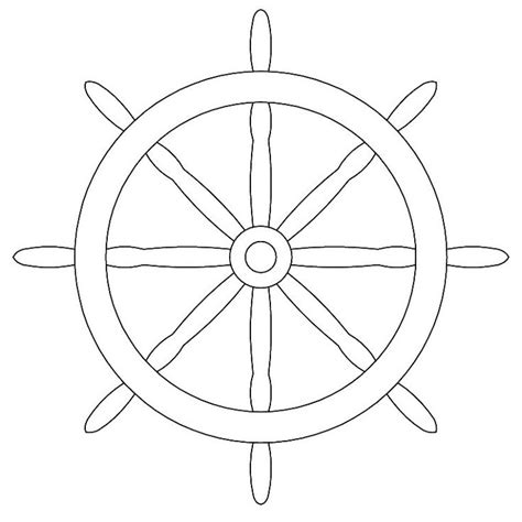 Boat Wheel Outline by Pirate Ship Wheel Coloring Pages