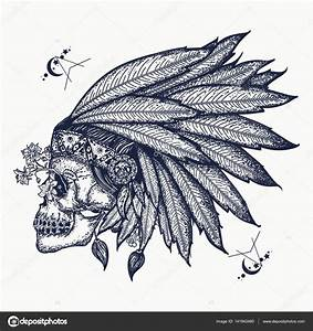 Indian skull tattoo art. Warrior symbol. Native American ...