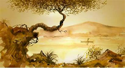 Chinese Painting Tree River Wallpapers Grass Mural