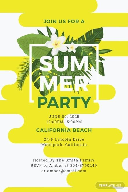summer party invitation template  microsoft word