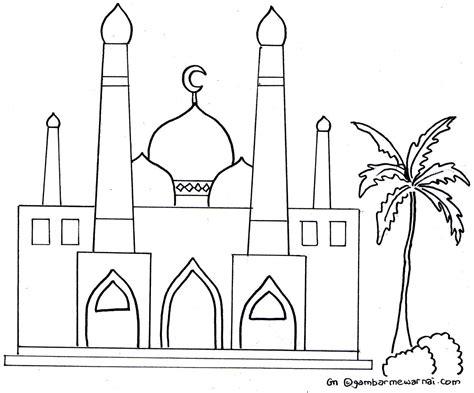 gambar mewarnai masjid kaligrafi kaligrafi islam