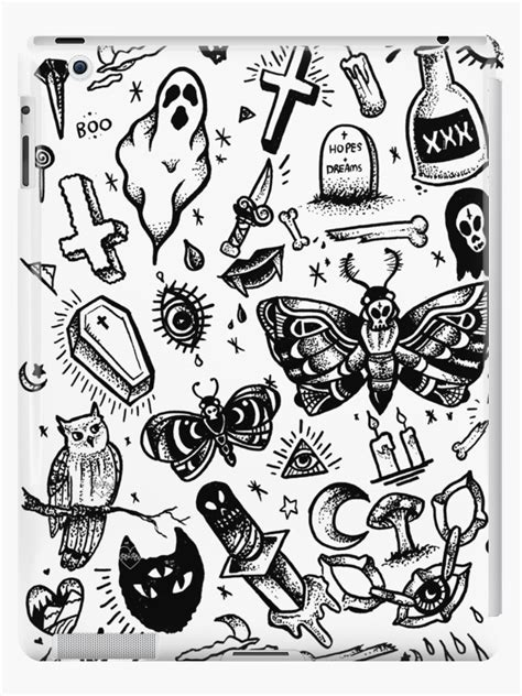 """SPOOKY TATTOO FLASH SHEET"" iPad Case & Skin by rhirhiart 