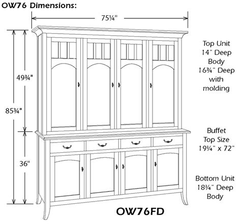 Standard Sideboard Height by World Four Door China Hutch Ohio Hardwood