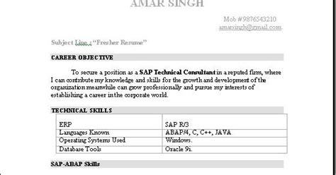 Best Resume For Sap Abap Fresher by Abap Fresher Resume Sle