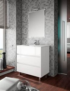 meuble de salle de bain salgar serie arenys 80 cm With carrelage adhesif salle de bain avec miroir led 80