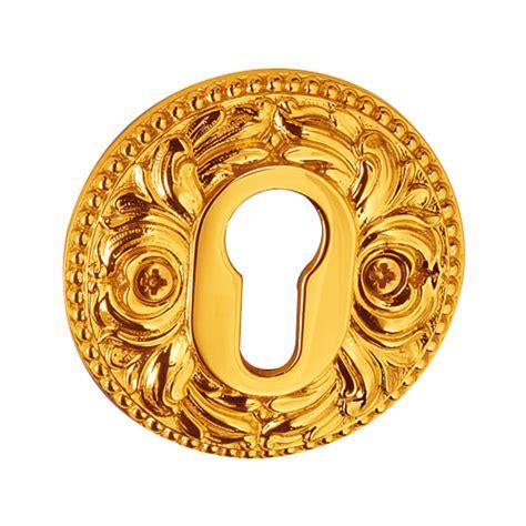 buy yale key hole escutcheon  gold finish norcia