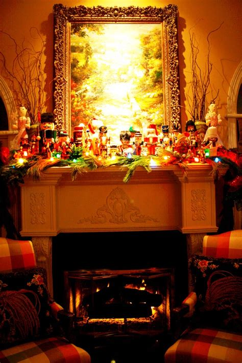 fireplace nutcracker nutcracker collection on mantle with colored lights and live garland fashioned