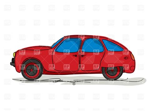 cartoon style drawing   red family hatchback car vector