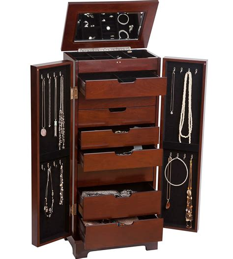 Wooden Armoire Wooden Jewelry Armoire In Jewelry Armoires