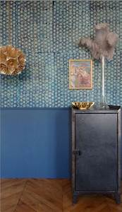Bleu Vert Couleur : papier peint vintage dans salon couleur bleu et vert ~ Melissatoandfro.com Idées de Décoration