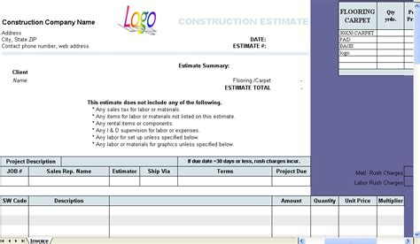 contractor estimate template construction estimate template invoice software