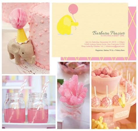 Pink Green Yellow Baby Shower by Pink Yellow Baby Elephant Baby Shower Theme Click To