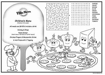 Placemats Coloring Menus Restaurants Menu Pizza Activity