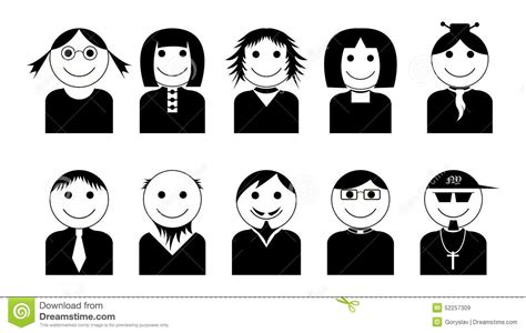 vector black white characters icons set simple avatar