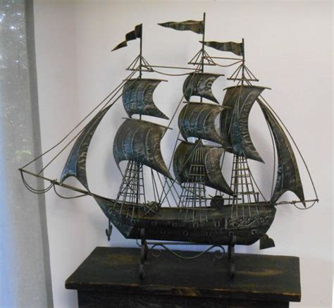 large wrought metal galleon metal ship sculpture vintage 1960s 70s mid century