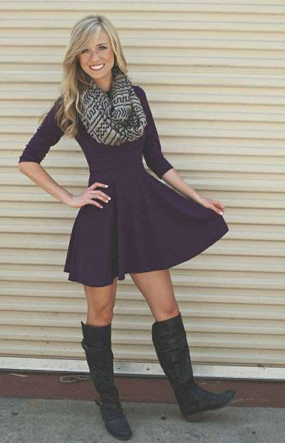 picture  cool dress  boots combinations  fall
