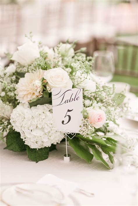 table number  white flower centerpiece