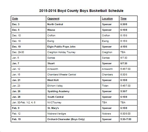 basketball schedule templates samples