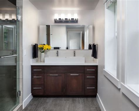 white master bathroom with brown vanity hgtv