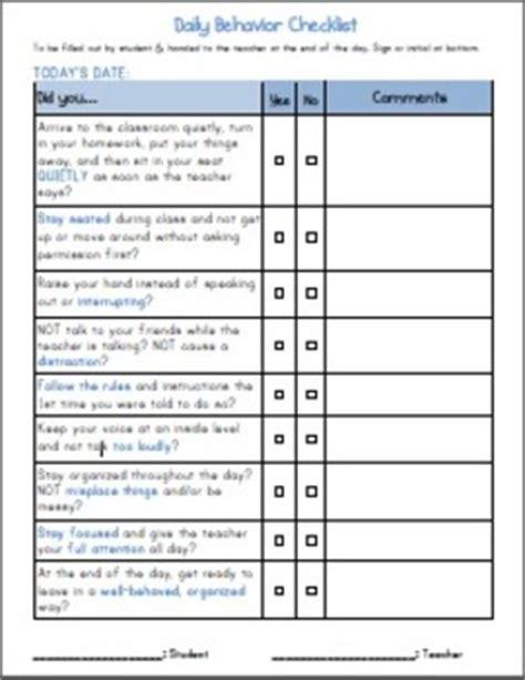 adhd daily elementary student behavior  checklist