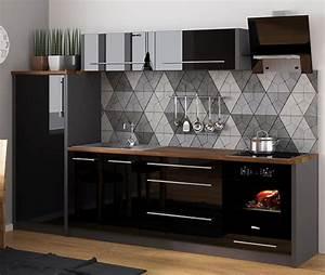 Küche Günstig Kaufen Mit Elektrogeräten : k chenzeile k che 260cm lava schwarz hochglanz ne real ~ Watch28wear.com Haus und Dekorationen