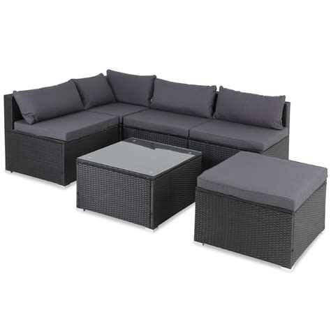 casaria poly rattan garden sofa corner furniture set