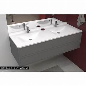Double Vasque 140 : creazur plan double vasque blanc 140cm achat vente ~ Edinachiropracticcenter.com Idées de Décoration