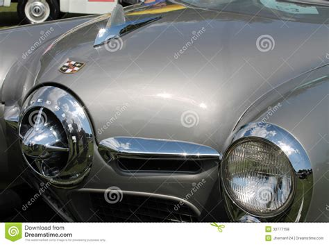 Classic American Car Headlamp And Front Grill Editorial