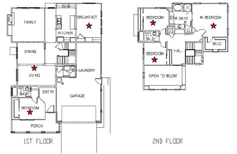 Wiring Diagram For Two Story House by Two Story Test House Floor Plan Indicate Tracer Gas