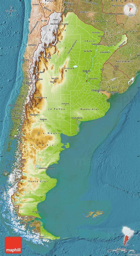 physical map  argentina satellite
