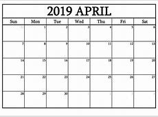 Free Download Printable April 2019 Calendar Template
