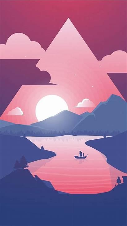 Iphone Plus Wallpapers 4k Minimal Sunset Scenery