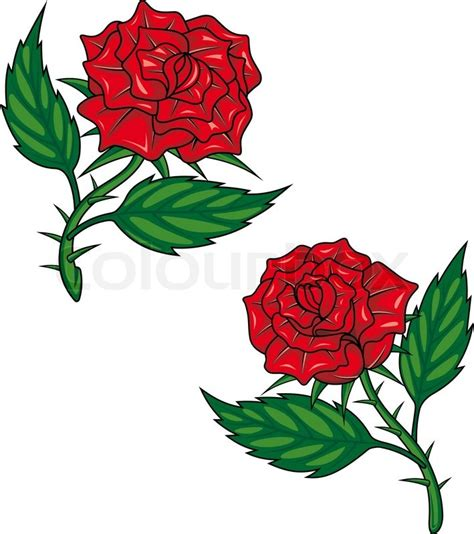 red cartoon roses isolated  stock vector
