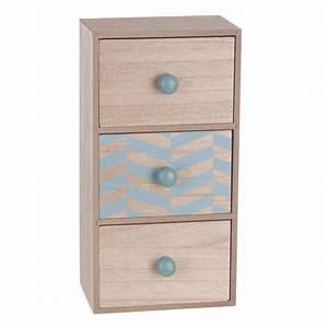 Boite Rangement Tiroir : bo te de rangement 3 tiroirs scandinave 30cm turquoise ~ Teatrodelosmanantiales.com Idées de Décoration