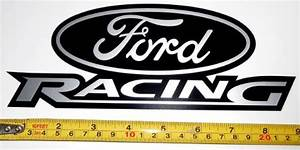 Ford Racing Logo! Very Bold! Silver Met on Black HQ Vinyl ...