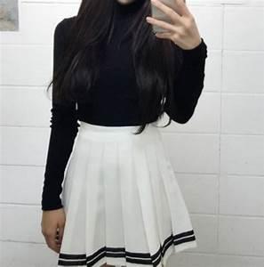 Skirt: kozy, black, black and white, high waisted, white ...