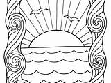 Sunset Coloring Pages Ocean Colouring Printable Popular Getcolorings sketch template