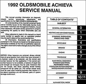 1992 Oldsmobile Achieva Repair Shop Manual Original